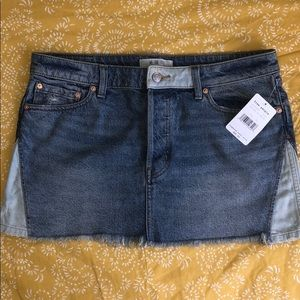 Free People patched up denim skirt